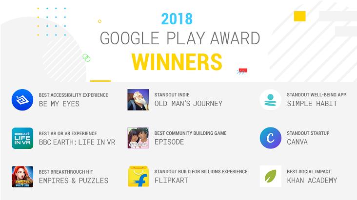 2018 Google Play Award winners