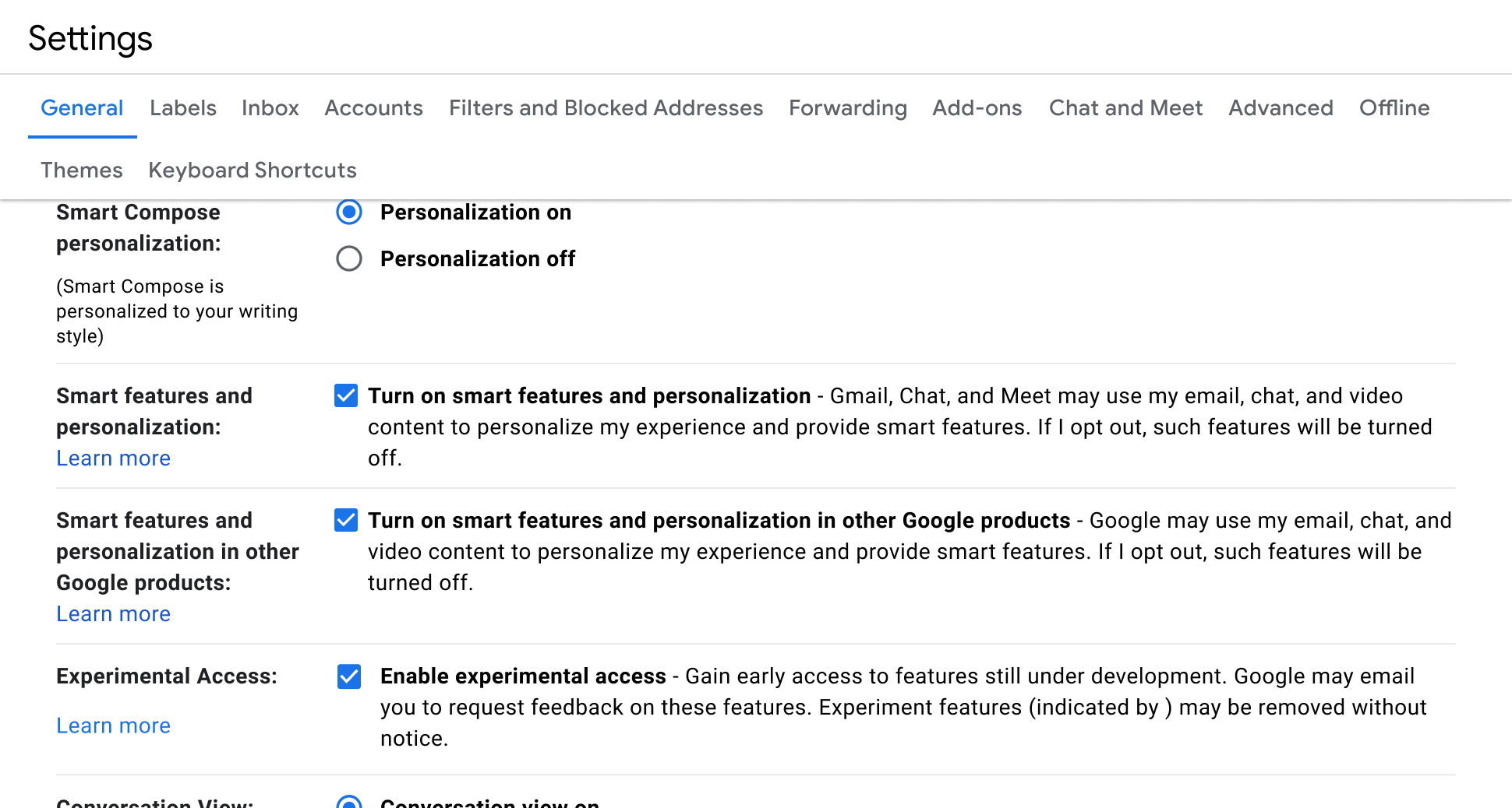Smart features and personalization settings in Gmail settings